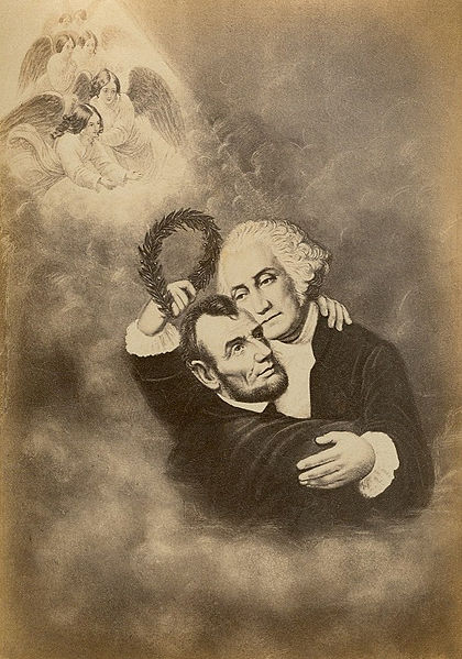 The Apotheosis of Abraham Lincoln, greeted by George Washington in Heaven. Washington is holding a laurel wreath. January 1865. Source: George Eastman House.