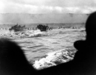 "LCVP landing craft put troops ashore on ""Omaha"" Beach on ""D-Day."" (6 June 1944). Source: National Archives, #26-G-2337."