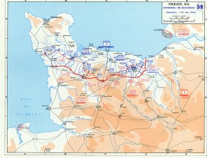 Map of the Normandy beachhead. Source: U.S. federal government.