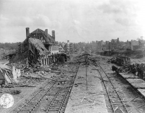 Railway station and city of Saint-Lô destroyed after the Invasion of Normandy. Source: U.S. National Archives.