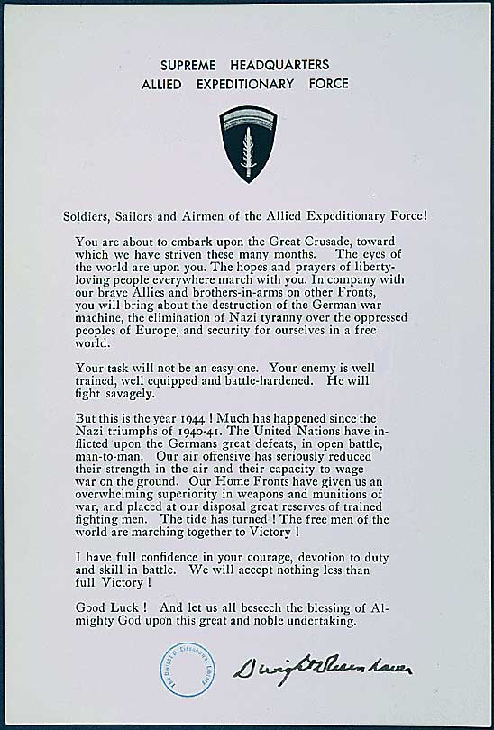 Eisenhower's message to Normandy invaders. (June 1944). Source: World War II Database.