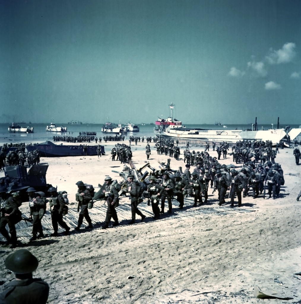 Canadian soldiers on Juno Beach, Normandy, France. (June 6, 1944). Source: World War II Database.