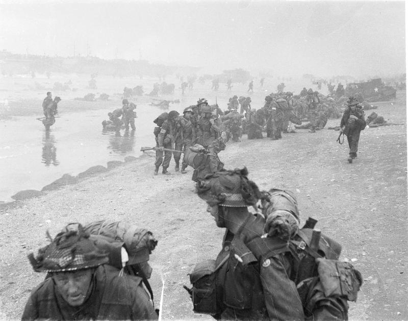 Troops of 3rd Infantry Division on Queen Red beach, Sword area, circa 0845 hours. (June 6, 1944). Source: Imperial War Museums, # B 5114.