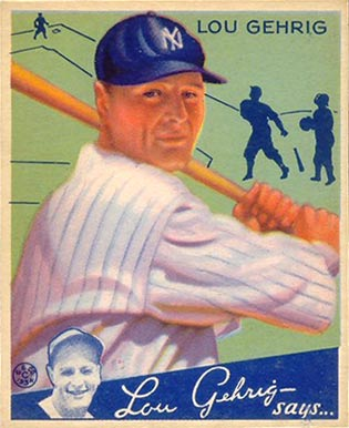 1934 Goudey baseball card of Lou Gehrig while he was playing for the New York Yankees. Source: Wikipedia.