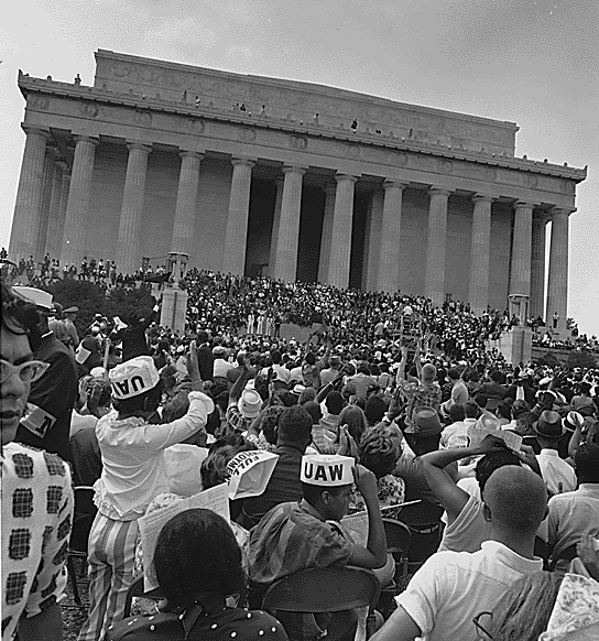 Marchers at the Lincoln Memorial. (Aug. 28, 1963). Source: U.S. National Archives #542054.