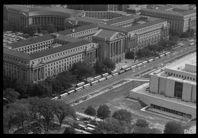 Aerial view of 14th Street during the March on Washington. (Aug. 28, 1963). Photographed by Marion S. Trikosko. Source: Library of Congress #LC-DIG-ppmsca-37226.
