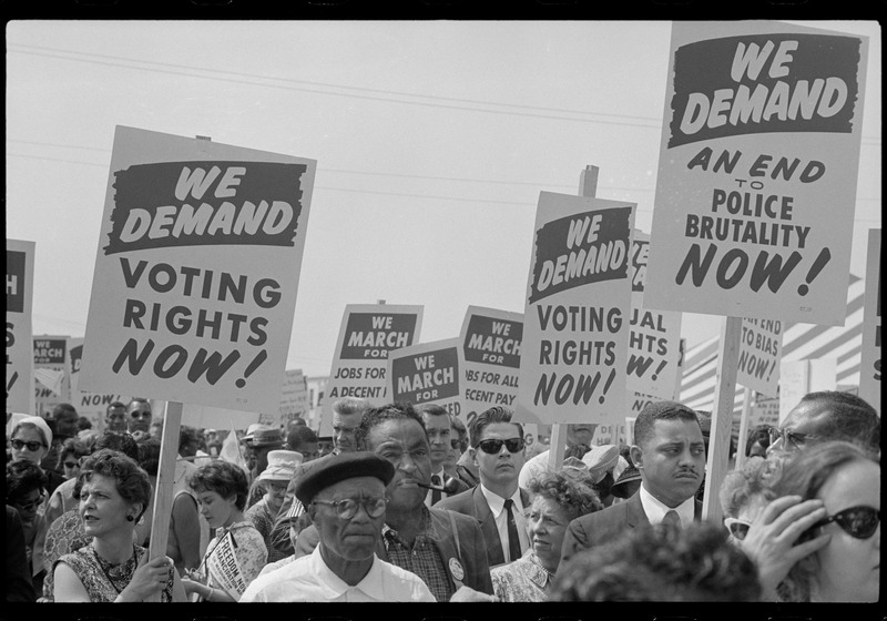 Marchers with signs at the March on Washington. (Aug. 28, 1963). Photographed by Marion S. Trikosko. Source: Library of Congress #LC-DIG-ppmsca-37229.
