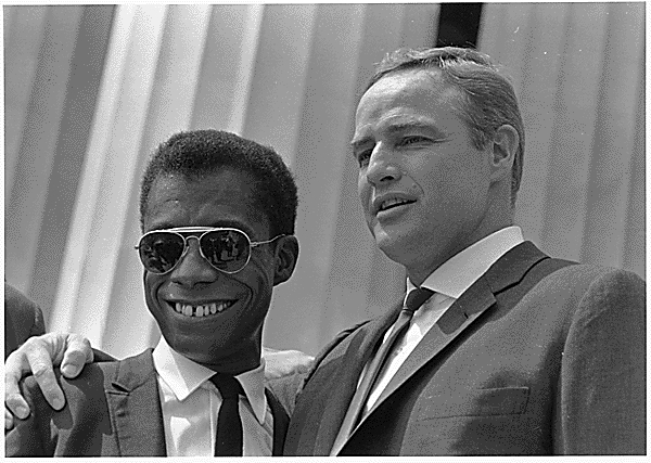 Author James Baldwin and actor Marlon Brando at the March. (Aug. 28, 1963). Source: U.S. National Archives #542060.