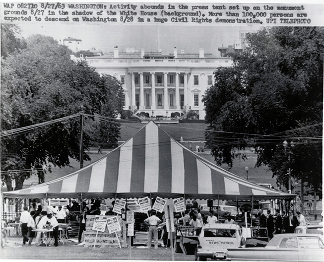 Activity abounds in press tent. (Aug. 28, 1963). Source: United Press International, New York World-Telegram & the Sun Newspaper Photograph Collection, Library of Congress #037.00.00.