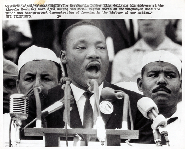 Rev. Martin Luther King delivers his address. (Aug. 28, 1963). Source: United Press International, New York World-Telegram & the Sun Newspaper Photograph Collection, Library of Congress #043.00.00.