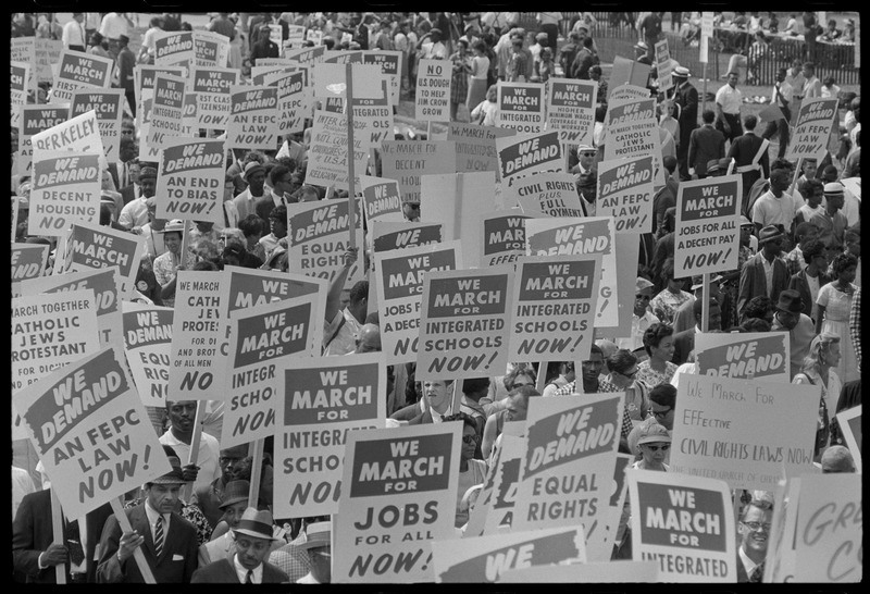 Signs carried by many marchers. Photographed by Marion S. Trikosko. (Aug. 28, 1963). Source: Library of Congress #LC-DIG-ppmsca-37245.