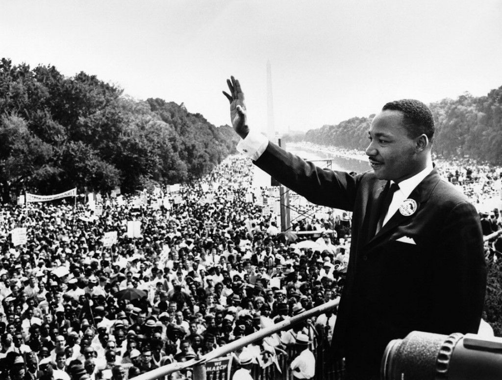 "Martin Luther King Jr. delivers his famous, ""I Have a Dream,"" speech during the March. (Aug. 28, 1963). Source: U.S. Marines, Creative Commons."