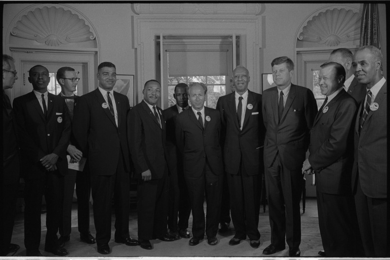 Civil rights leaders meet with President John F. Kennedy in the Oval Office. White House. (Aug. 28, 1963). Source: Library of Congress #LC-DIG-ds-04413
