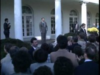 Reagan Celebrates Bush Win in Rose Garden 1988