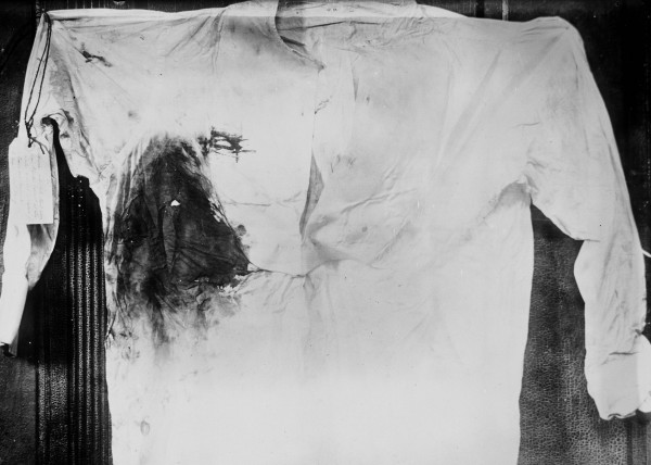Bloodstained shirt of U.S. President Theodore Roosevelt following assassination attempt